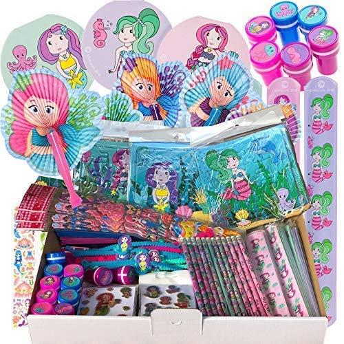 JuniorToys Meerjungfrauen-Party - 100 Kleinspielwaren Mitgebsel für Mädchen Wurfmaterial Tombola Kindergeburtstag - Mermaid Mottoparty