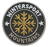 Club-of-Heroes 2 x Stick Abzeichen 55 x 55 mm Gold/Berge Mountains Ski Winter/hochwertige Stickerei in Gold metallic/Aufbügler Applikation Patches Patch Bügelbild für Kleidung Jacke Jeans Taschen