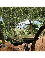 Cymall Camping Hamaca con mosquitera Red de hamaca de tela de paracaídas, duradero y portátil, traje para 2 personas, tienda de campaña, al aire libre (Negro)