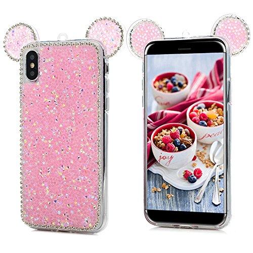 iPhone X Cover Silicone 3D Strass Bling Glitter Brillanti, Custodia Morbida TPU Flessibile Gomma - MAXFE.CO Case Ultra Sottile Cassa Protettiva per iPhone X - Nero Rosa