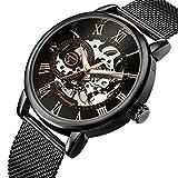 AFFUTE Mechanische Uhren Herren Klassische Skeleton Mesh Edelstahlarmband Hand-Wind-Armbanduhr in Schwarz