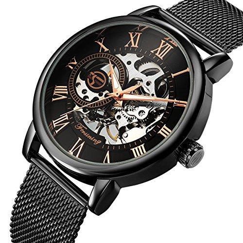 affute Mechanische Uhren Herren Klassisches Skelett Mesh Edelstahl Riemen Automatik aufziehbar Armbanduhr in Schwarz