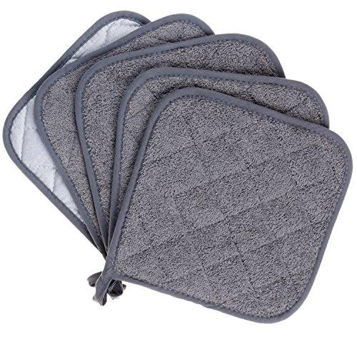 Lifaith 100% Baumwolle Küche Everyday Basic Terry Topflappen hitzebeständig Untersetzer Topflappen für Kochen und Backen Set von 5 Grau
