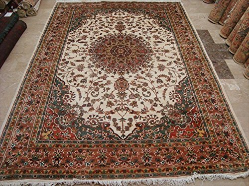 rechteck-bereich-teppich-hot-elfenbeinfarben-medaillon-kasha-traditioneller-wolle-seide-handgeknotet