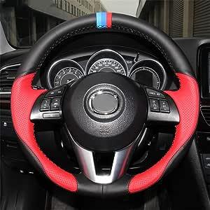 Luoerpi Handgenähte Schwarze Rote Leder Auto Lenkradabdeckung Für Mazda 3 Axela 2013 2016 Für Mazda 2 2015 2017 Für Mazda 6 Atenza 2014 2017 Sport Freizeit
