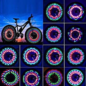 Luces para Rueda de Bicicletas Rottay Led para radios de bicicleta impermeables 32 LEDs rayos montar al aire libre con 32 cambios de patrón diferente