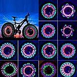 Bicicletta LED Impermeabile Luci per Raggi della Ruota,LED Luce con 32 LED Ultra Luminosi 32 Modello Multicolore Cambiamenti