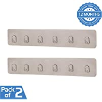HOKIPO Magic Sticker Series Self Adhesive Plastic Bathroom/Kitchen Wall Hook Rail for Hanging Napkin, Utensils, Key (Silver) - Pack of 2