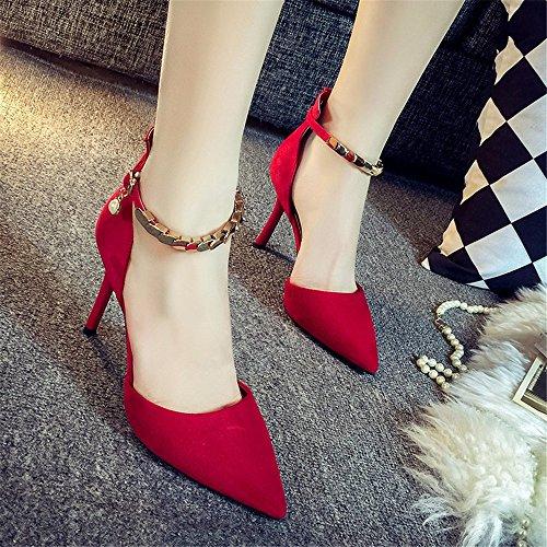 Hxvu56546 Printemps Et Automne Nouveau Pointu Haute Talons Raffiné Boucle Sandales Mode Femmes Chaussures Unique Rouge