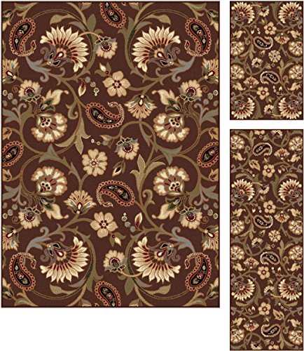 Universal Rugs 105328 Brown 3 Pc. Set 5-Feet by 7-Feet, 20-Inch by 60-Inch and 20-Inch by 32-Inch Area Rug, 3-Piece by Universal Rugs