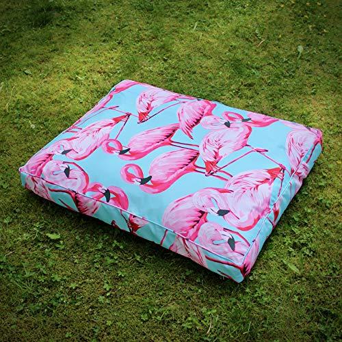 TARIGS Outdoor Hundekissen Flamingo im Wasser - Rose Rosa Blau Südsee Natur Wildnis - Wildnis Blau