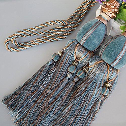Ein Paar Vorhang Raffhalter Band Binden Quasten Design mit Kugel LianLe (Blau)