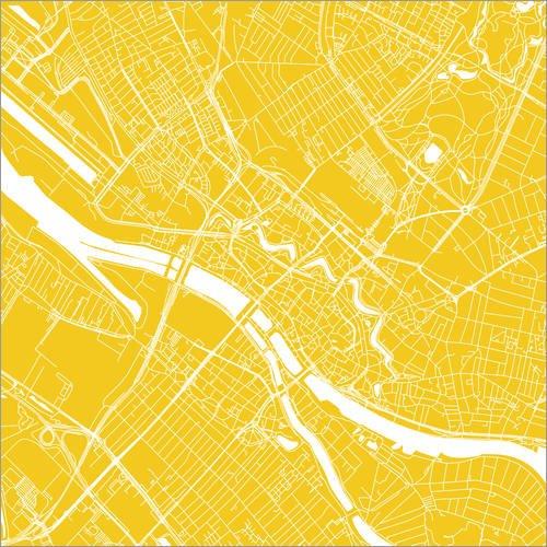 Posterlounge Leinwandbild 40 x 40 cm: Stadtplan von Bremen von 44spaces - fertiges Wandbild, Bild auf Keilrahmen, Fertigbild auf echter Leinwand, Leinwanddruck
