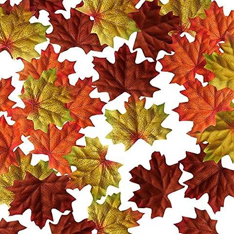 Wocharm 150pcs/200pcs Artificial Autumn Fall Maple Leaves Autumn Colors Great Autumn Table Scatters for Fall Weddings & Autumn Parties Home Decor (10cm X 9cm 150 pcs)