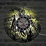 Spiderman Marvel Comics LED Horloge Record Creux Mur Art Marvel Amant Cadeau Creative Horloge À La Main Vinyle Record Suspendus Horloge