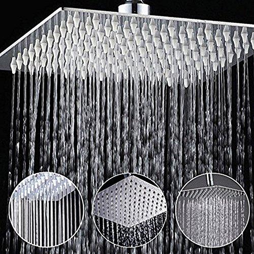 Duschkopf Regendusche Einbauduschköpfe Kopfbrause Regenbrause mit Anti-Kalk-Düsen Edelstahl poliert Spiegeleffekt Hochglänzend 8 Zoll- Quadratisch
