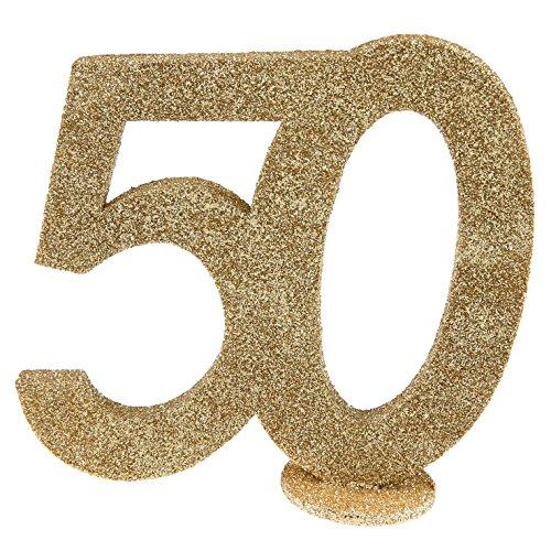XXL Tischdeko Zahl 50 Geburtstag Gold Glitzer 1 Stück Party-Deko Palandi®