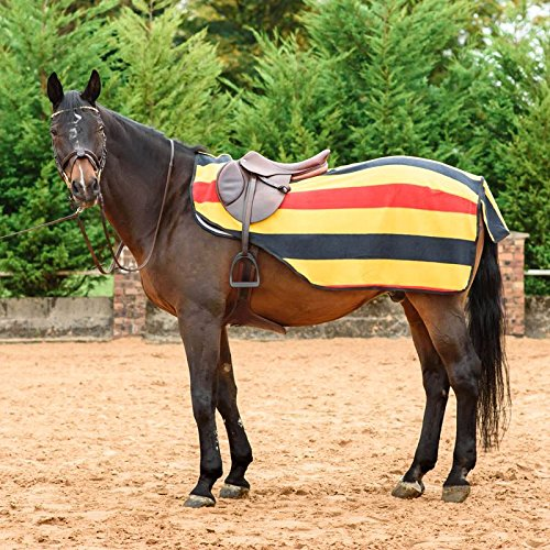 Best-On-Horse-Exercise-Sheet-Striped-Fleece-Equestrian-Outdoor-Riding-Velcro