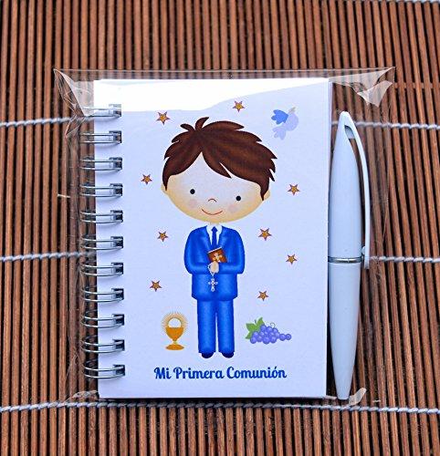 Recuerdos y Regalos de Primera Comunión para invitados - Detalles Comunión Niño - Libretas con mini bolígrafo - Pack 15 unidades - ¡Sus Amiguitos Alucinarán!