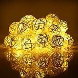 InnooLight 40er 4 Meter LED Rattan Lampion Lichterkette mit 1,5 M Zuleitungskabel, Innen Deko für Wohnungen, Schlafzimmer, Fenster, geeignet für Party, Weihnachten, Fest usw. Warmweiß DC 31V