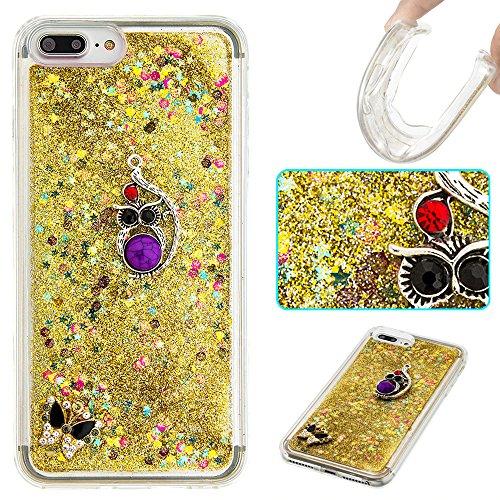 Case iPhone 7 Plus 3D Bling Diamant Design Coque, Sunroyal Glitter Bling Bling Dual Layer en Soft TPU Silicone Housse Transparent Clair Back Cover Strass Cristal Protecteur Étui Paillettes Flottant Li A-19