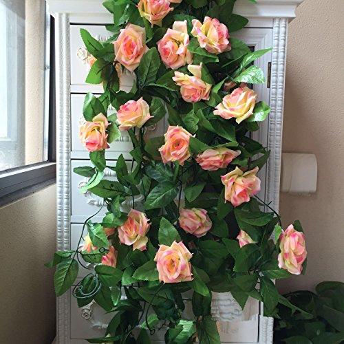 Meiliy - confezione da 2 piante rampicanti artificiali con fiori di rosa finti, lunghezza 4,5m, decorazione artistica per hotel, uffici, matrimoni, feste, giardini e progetti creativi champagne pink