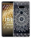 Sunrive Cover per HTC U12 Custodia Case in Molle Trasparente Silicone Morbida Flessibile AntiGraffio Protettiva Back custodie(TPU Fiore Bianco)