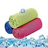 SKL Unisex's 3 Pack Instant Ice Gym Quick Dry Microfibre Cooling Sports Towel for Golf Swimming Yago Football Running Workout (Rose Green Blue,36 x 12 Inch)