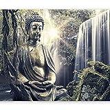 murando - Fototapete 400x280 cm - Vlies Tapete - Moderne Wanddeko - Design Tapete - Wandtapete - Wand Dekoration - Natur Buddha Wald Wasserfall Asia h-C-0032-a-d
