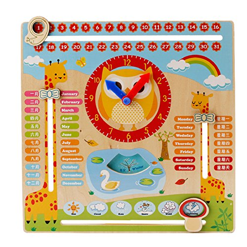 Early Educational Wooden Clock Toys Time Clock Multifunction Clock Learning Building Toys for Baby by Akrobo