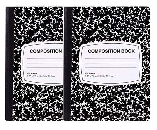 Von 100-sheet Classic schwarz & White Zusammensetzung Notebooks (2Pack)