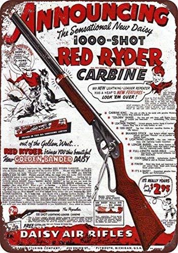 qidushop 1940 Gänseblümchen Red Ryder Bb Gun Vintage Look Reproduktion Neuheit Aluminium Metall Blechschild Wand Dekoration für Herren 20 x 30 cm (Guns Bb Red)