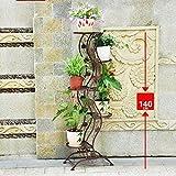 qzp Blumenregal Metall Blumen-Regal-Schmiedeeisen-kreativer Grüner Luo LAN LAN-Boden Innenmehrschichtblumen-Stand-Balkon-fleischiger Blumen-Topf-Zahnstange,Copper(45*27*140cm)