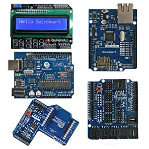 SainSmart UNO, ATmega328p + SainSmart LCD Keypad Shield + SainSmart XBee Shield + SainSmart Sensor Shield V4 + SainSmart Ethernet Shield for Arduino UNO MEGA R3 Mega2560 Duemilanove Nano Robot