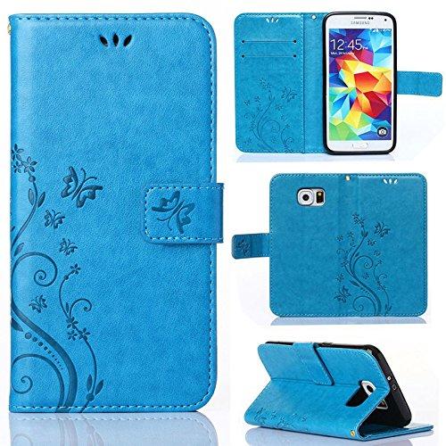 numerva Handytasche kompatibel mit Samsung Galaxy S6 Edge Hülle Motiv TPU Innen Case für Galaxy S6 Edge Handyhülle Blau