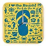 Wanduhr Fun Wand Deko I love the Beach Fische Anker Sonnebrille Acryl Dekouhr Nostalgie