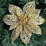 Steellwingsf 100Glitzer Hohl Hochzeit Party Weihnachten Blumen Weihnachts Baum Dekorationen, Plastik, Gold, Einheitsgröße