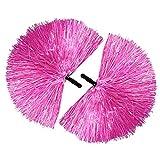 com-four® 2x Cheerleader PomPom in pink (02 Stück - pink/schwarzer Griff)