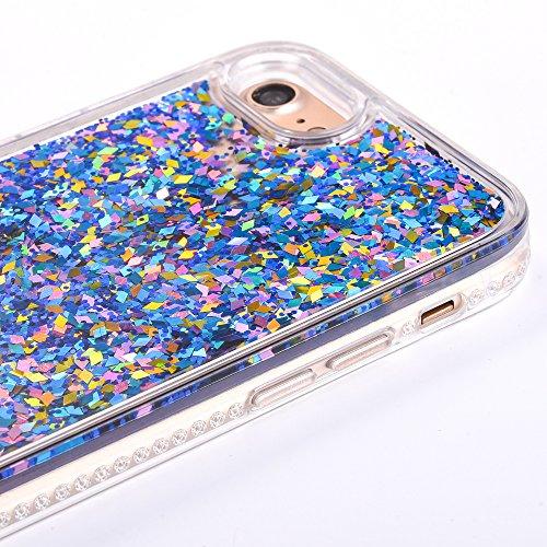 Custodia iPhone 6S 4.7 Cover iPhone 6 4.7,Ukayfe Cristallo di lusso di Bling di scintillio lucido diamante scintilla iPhone 6/6S 4.7 Case Copertura Custodia Cover [Cristallo Trasparente] Protettiva Tr Diamante Blu # 9