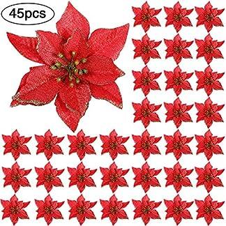 WILLBOND 45 Piezas Decoraciones de Navidad Poinsettia Brillo Flores Artificiales de Navidad para Adorno de Árbol de Navidad, 5 Pulgada(Kit de Color 3)
