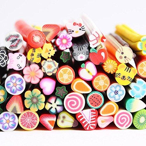YESURPRISE Bijoux Pour ongle Fimo 100 batons Fruits Animals Fleurs