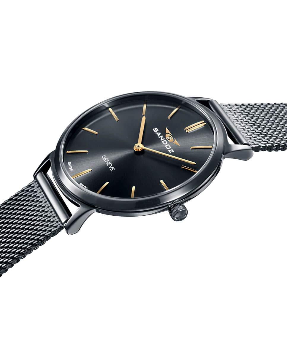 Sandoz – Reloj Acero IP Gun Brazalete Sra Classic & Slim Sa – 81350-57