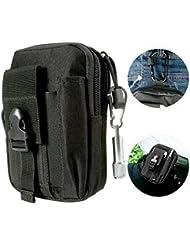 Meown® Táctica Bolsa [mini LED], MOLLE EDC Bolsa Compacta Bolsa de Cintura para Deportes al Aire Libre - Negro