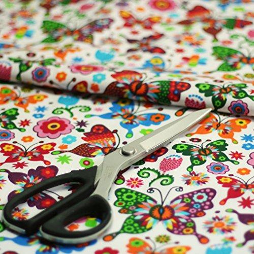 4L Textil Baumwollstoff Uni 100% Stoffe Stoff Meterware Baumwolle Ungemuster, Blumen, Dots, Rosen, Eulen 50 cm (Schmetterling)