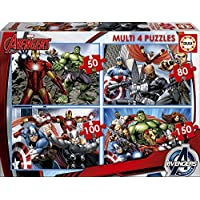 Educa 16331 - 4 Puzzle da 50, 80, 100 e 150 Pezzi, Tematica Avengers