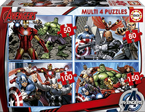 Puzzles Educa - Multi 4 Puzzles, diseño Avengers, 50-80-100-150 piezas (16331)