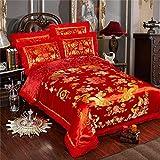 KEOA 4-teilig Hochzeit Bettwäsche-Sets, Chinesischer Drache und Phoenix Satin Spitze Bettbezug Set mit Baumwolle Flachbett,D