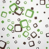 WANDfee® Wandtattoo 60 Vierecke FARBWUNSCH Farbe dunkelbraun hellgrün zweifarbig bunte moderne Wanddeko selbstklebende retro Cubes Quadrate Wandaufkleber Wandsticker Fliesenaufkleber Dekoration Deko Aufkleber