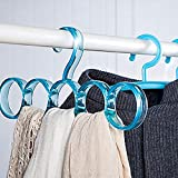 #5: House of Quirk Single Piece 5-Circle Plastic Ring Hanger for Wardrobe Organizer (Blue)