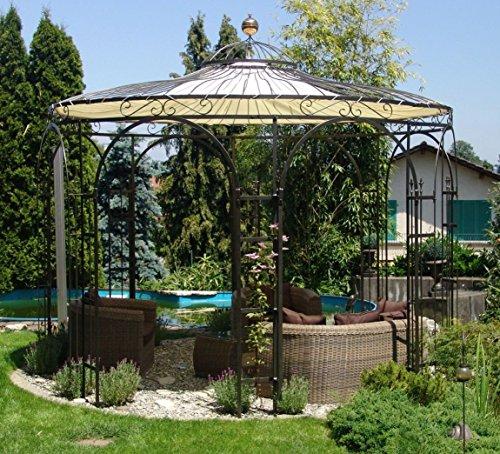 ELEO Florenz runder Eisenpavillon mit Sonnensegel, Ø 3,7 Meter (Oberfläche: anthrazit duplexbeschichtet) - 2